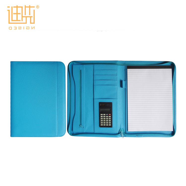 도매 blue 대회 컵 bag PU leather zipper padfolio 와 계산기