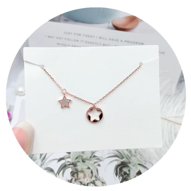 925 Sterling Silver <strong>Cute</strong> Heart Letter Leaf Star Shaped Various Styles Cubic Zirconia <strong>Necklace</strong> For Christmas Gift
