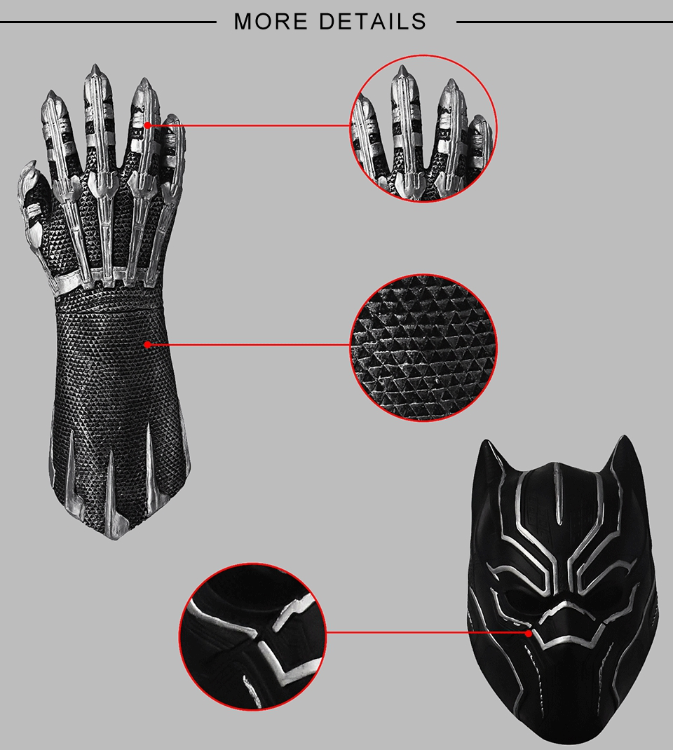 Hot Film Marvel Action Figure Pop Black Panther Latex Mask Cosplay Halloween Avengers Mask
