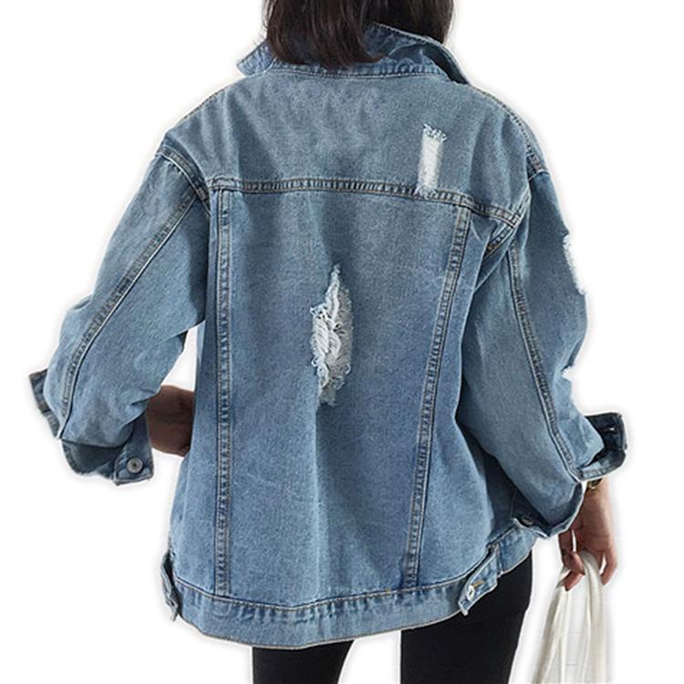 महिलाओं डेनिम जैकेट जीन आकस्मिक सादे कपड़े Chaquetas Mujer