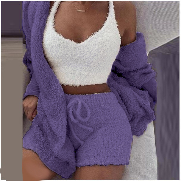 3 Potong Set Ecoparty Fashion Pakaian Tidur Wanita Musim Dingin Set Piyama Polos Mewah Bertudung Rompi + Jubah dan Celana Pendek Pakaian Tidur M0433