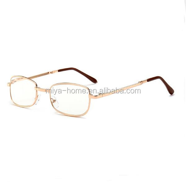 Resin folding reading glasses / metal frame old glasses with leather mirror box