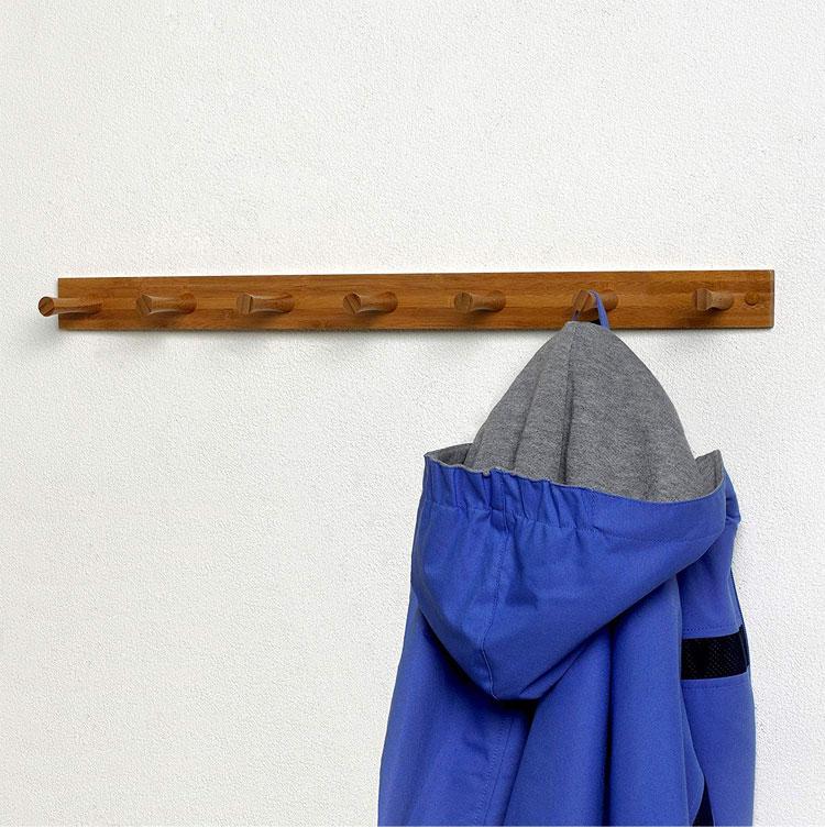High Quality Bamboo Wood Wall Hook Rack 7