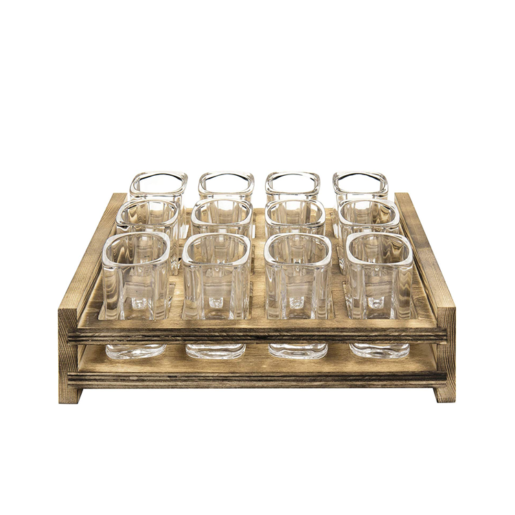 Best-selling Industrial-themed Bar Decoration 12 Shot Serving Tray With Glasses