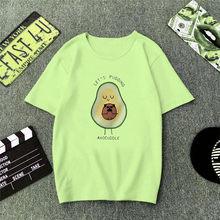 Женская футболка с рисунком ZOGAA, зеленая веганская футболка с принтом из мультфильма авокадо, Повседневная Базовая футболка, летний Забавны...(China)