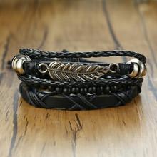Vnox Ассорти мужские браслеты набор 4 шт смешанный кожаный браслет обруча Черный Коричневый браслеты панк Мужской рок аксессуар(Китай)
