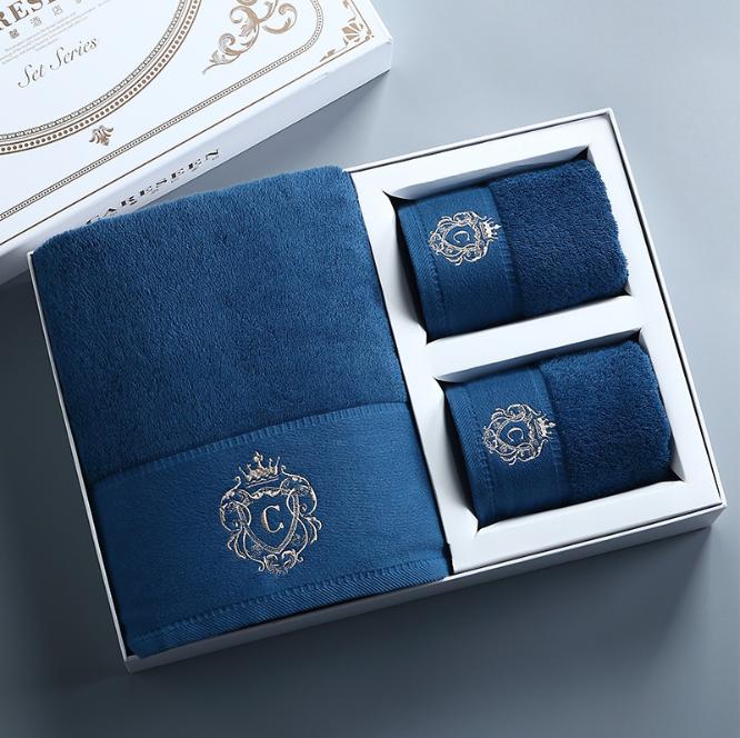 高級5つ星ホテル用ギフトボックス包装バスタオル綿100セット