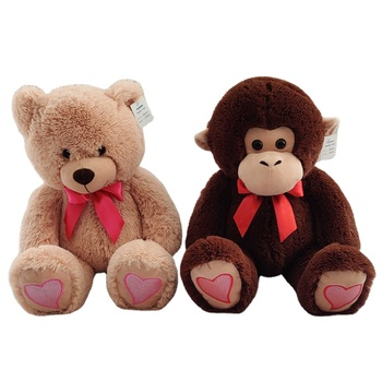 The factory wholesales red embroidered teddy bears as valentine's day gifts