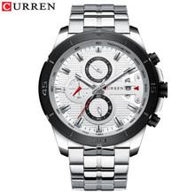CURREN Бизнес мужской роскошный бренд часов Нержавеющаясталь наручные часы с хронографом армейские военные кварцевые часы Relogio Masculino(Китай)