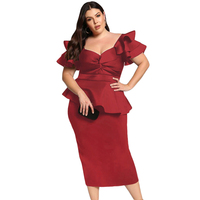 Fashion New Tiered Sleeve Peplum Dress Plus Size Custom 2020