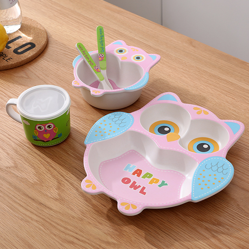 Baby Bamboo Fiber Tableware Feeding Food Dishes Bowl Spoon Fork Cup Set Eating Dinnerware