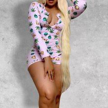 Женская летняя пижама из 1 предмета, пижама с длинным рукавом, короткий комбинезон, сексуальная Пижама для взрослых, ночное белье размера пл...(Китай)