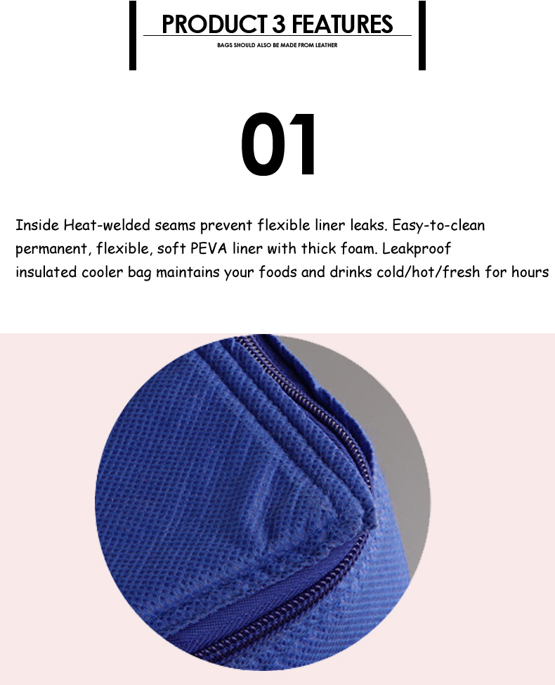 2019 doublure en aluminium isolé pique-nique sac isotherme avec fermeture à glissière