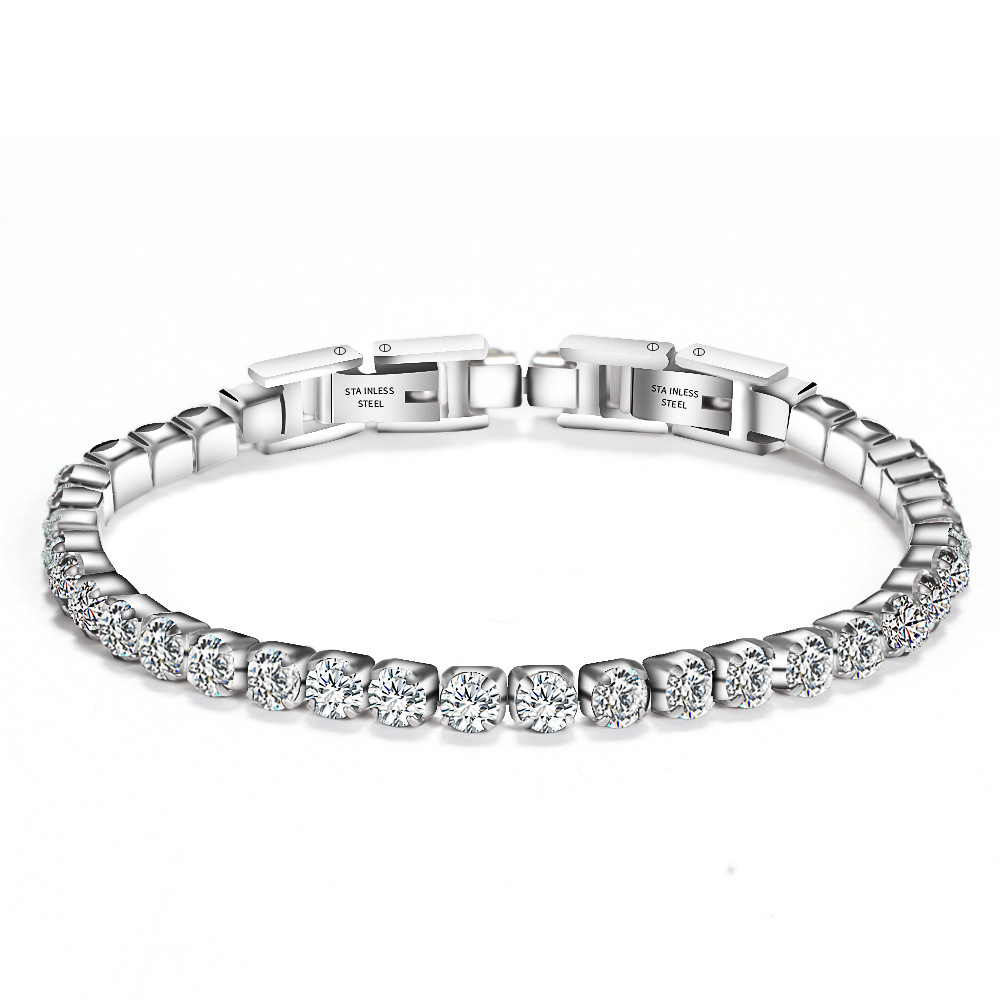 Wholesale Custom Men's Women Hip Hop Jewelry 3mm Cubic Zirconia <strong>CZ</strong> Stone Iced Out Stainless Steel Diamond <strong>Tennis</strong> Chain <strong>Bracelet</strong>