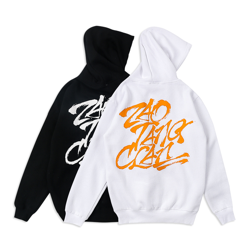 Bulk custom branded hip-hop pullover hoodies rock streetwear