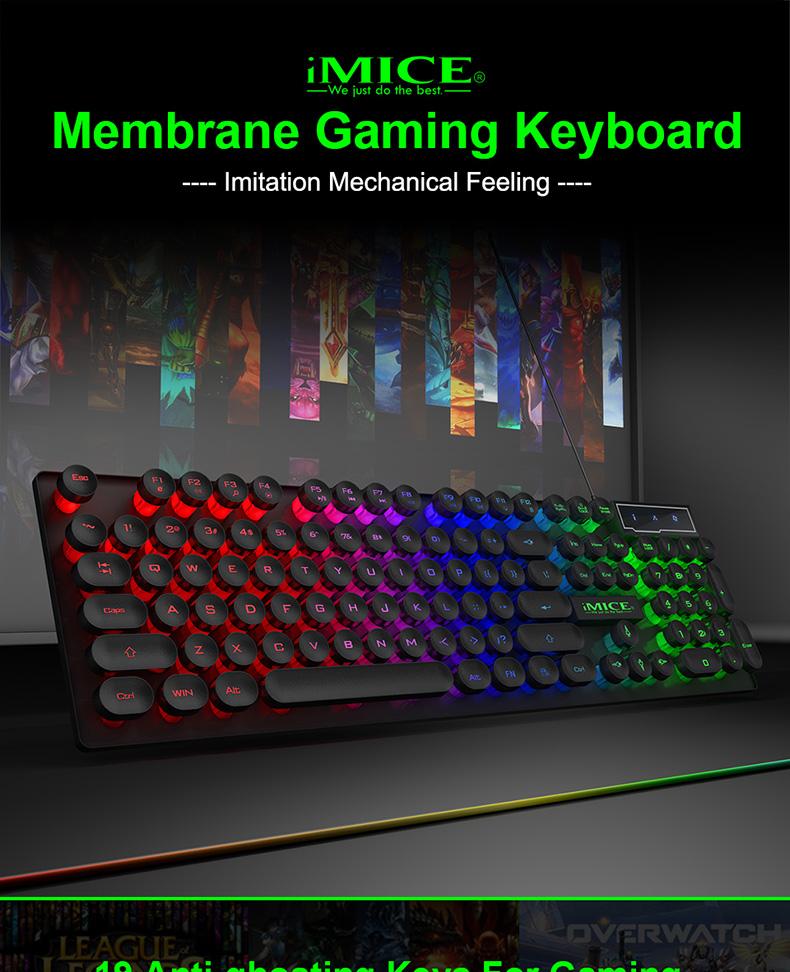 IMICE Factory Brand AK-800 Mechanical feeling Round keys Gaming Keyboard with Backlit