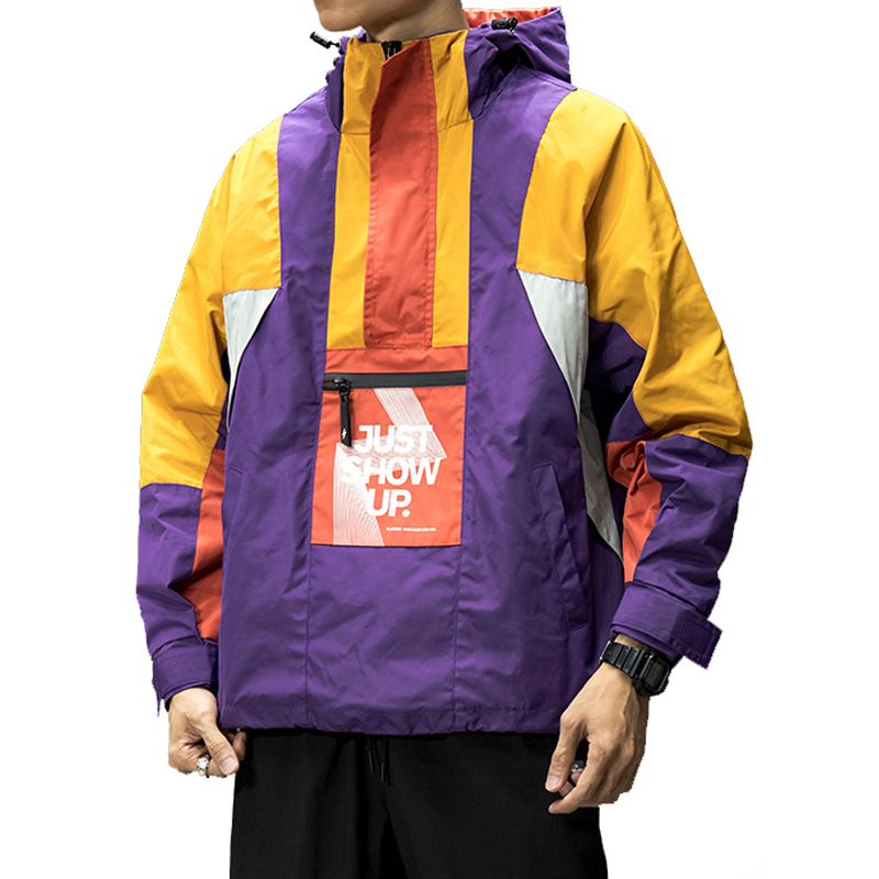 Custom 2020 היפ הופ אירופה סגנון גברים פופולרי לוגו סלעית מעיל רוח מעיל