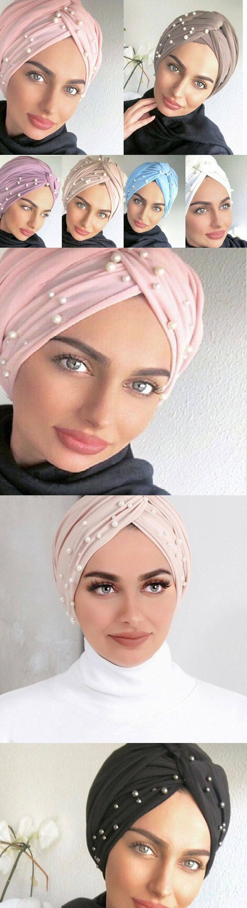 2020 newest popular suede turbans with pearls for arab women  turbans with pearls beaded