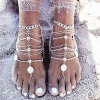 Anklet bohemian Silver Color Tassel Anklet Ankle Bracelet Chain foot Beach Toe ring body jewelry