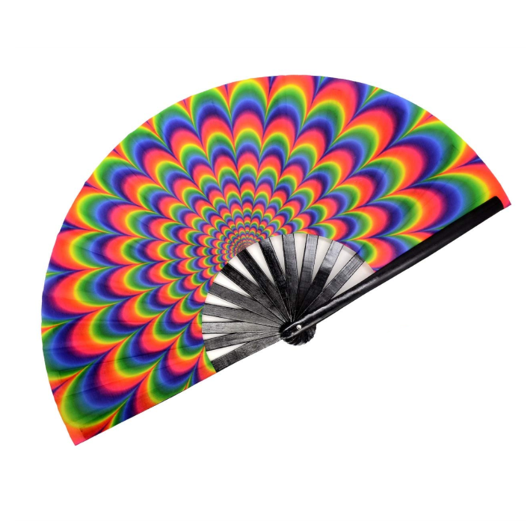 Trippy ขนาดใหญ่ 33 ซม.ไม้ไผ่คุณภาพสูง Tai Chi Kung Fu Fan สำหรับเต้นรำอิเล็กทรอนิกส์เพลงเทศกาลงานเลี้ยงตกแต่งของขวัญ