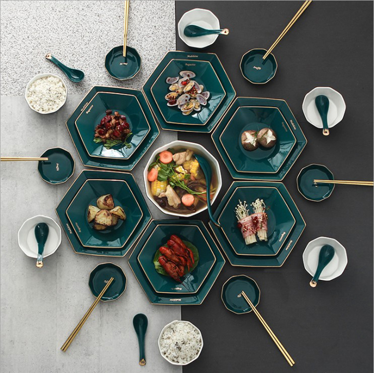New Product Ideas green gold rim 10/12/18/25/32/48/56pcs porcelain Plates Sets Dinnerware fine Ceramic Crockery Tableware