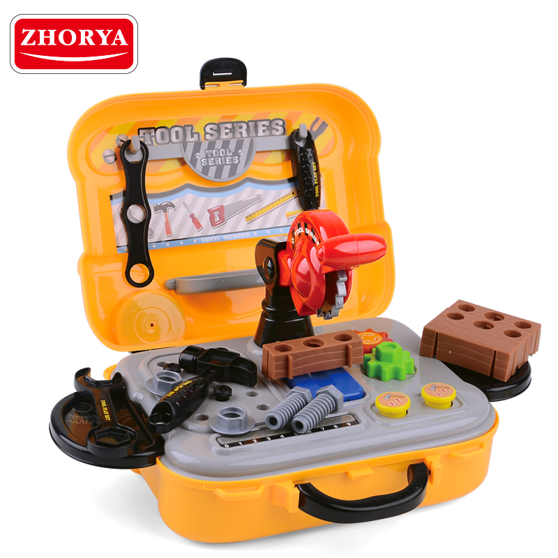 Zhorya diy plastic workshop tool play set tool kit <strong>toy</strong> for kids 25pcs with backpack suitcase