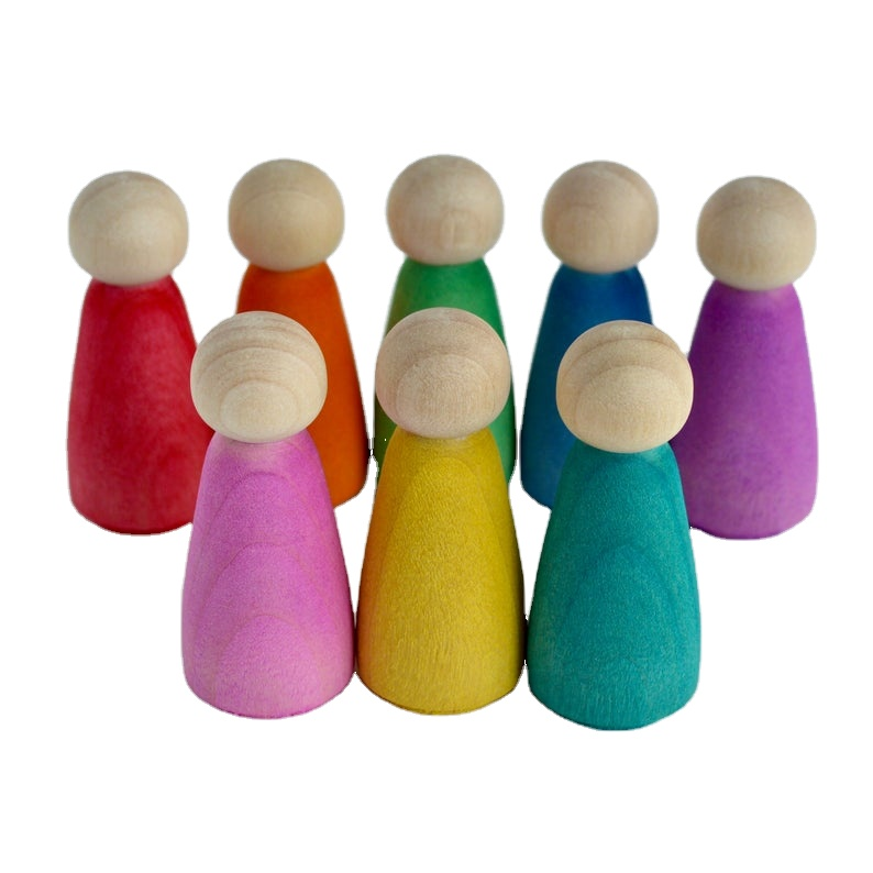 Waldorf Gaya Pelangi Peg Boneka Mainan Kayu Pelangi Mainan Peg Boneka Peg Dolly Set Waldorf Mainan