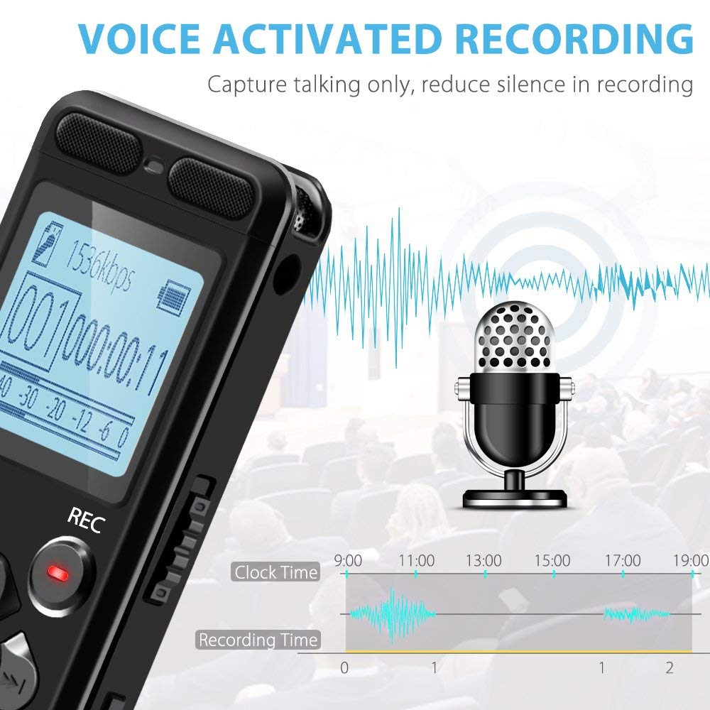Digital Voice Recorder V36 easy-operation with Voice Activated Mode and Multiple use