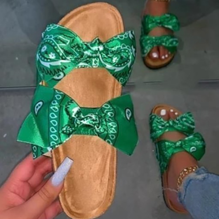 big size new fashion trendy Bowtie satin prints flat slippers for women bow slippers colorful slippers