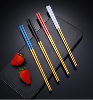 SS304 Hongda High Quality Square Shape Durable Stainless Steel Restaurant Metal Chopsticks