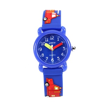 Environmental Blue Waterproof Cartoon Design Wrist Kid Watch