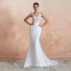 China Factory Cheap Wholesale Simple White Sexy Mermaid Wedding Dresses Bridal Gowns