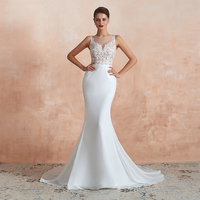 China Factory Cheap Wholesale Simple White Sexy Mermaid Wedding Dresses Gowns