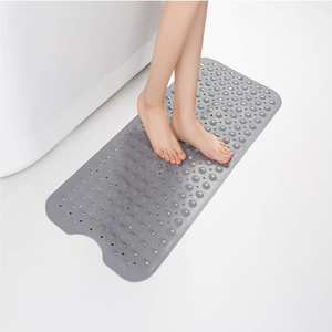 Bath Shower Mat Non Slip for Bathroom Machine Washable Latex Free Phthalate Free Bathtub Mats with Drain Holes, Suction Cups