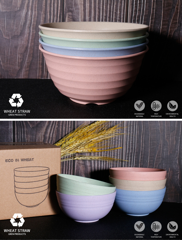 Eco-Friendly Wheat Straw Colorful Bowls  BPA free microwavable safe with anti-heat bottom