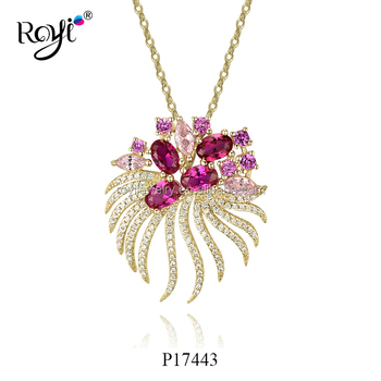 Royi Designs Fashion Jewelry Luxury 925 Sterling Silver Necklace Gemstone Pendant