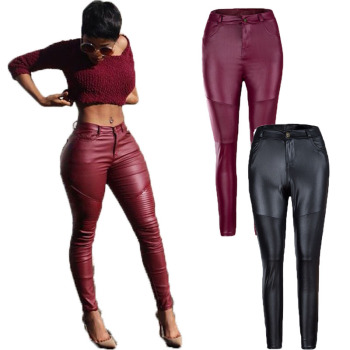 Autumn and winter women's clothing hot style street pleat leather pants tight stretch pants