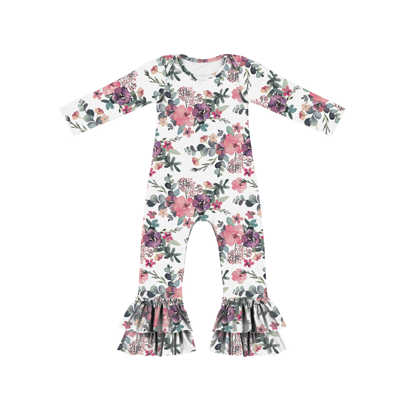 Valentine's Day Pink Floral Sweet Heart Print Romper Jumpsuit Baby O-Neck Long Ruffle Onesie Baby For Sale