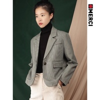 women fashion autumn long-sleeved grey plaid short design suit