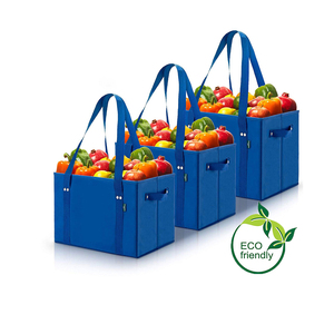 Eco friendly Sustainable Grocery Bags Reusable Collapsible Shopping Box Bags with Fold Up Reinforced Bottom