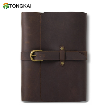 Classic Leather Journal Refillable Notebook with Strap Buckle Loose Leaf Binder Handmade Lined Craft Paper
