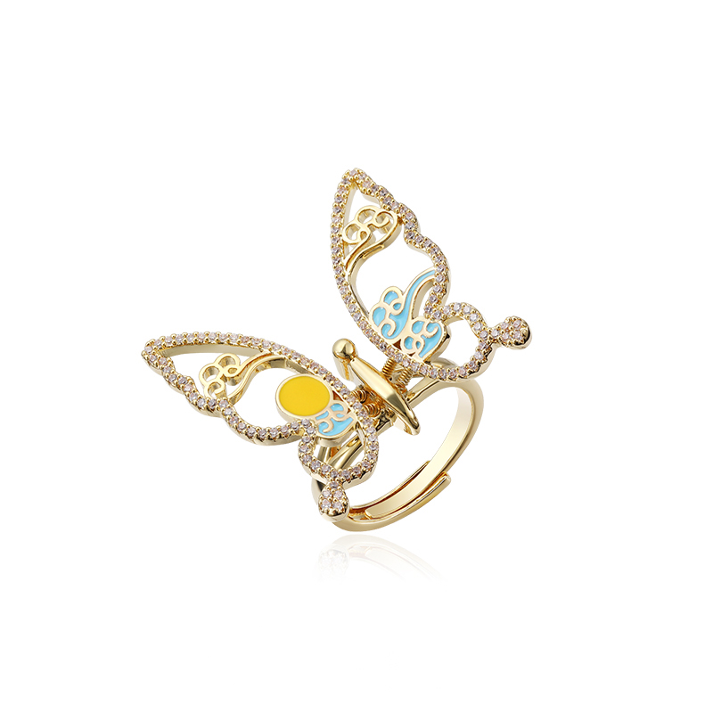 Big Butterfly Open Rings For Women 2020 New Fashion Micro Pave Shinning Zircon Statement Ring Adjustable Jewelry
