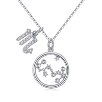 Silver jewelry 925 sterling handmade plated white gold jewelry wholesale with 12 constellations scorpio pendant