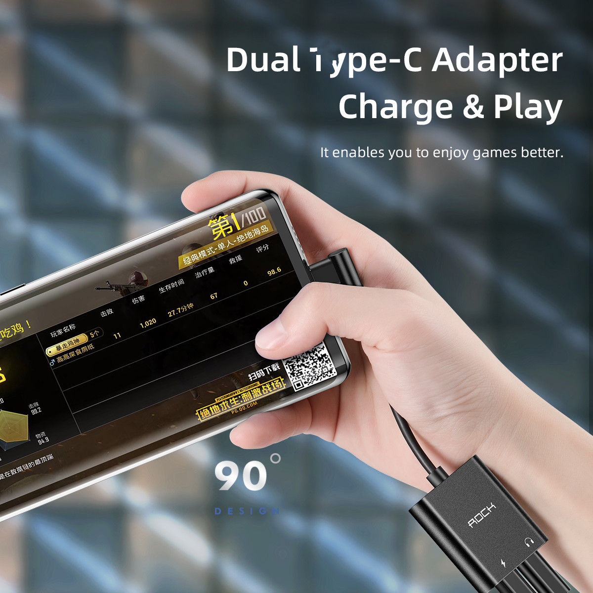 ROCK CA02 mobile phones for type-c to for dual type-c splitter audio travel adapter PD charger for iphone cable adapter