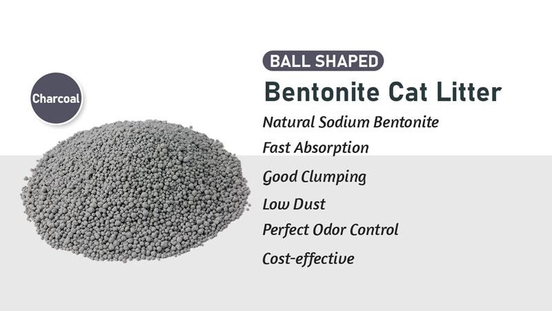 5L سوبر clumping الكرة الشكل البنتونيت الكربون المنشط القط القمامة