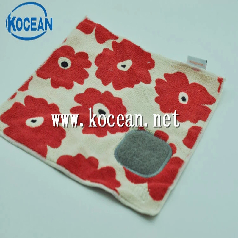 New Products Microfiber Printed Dish Cleaning Cloth With Scouring Pad