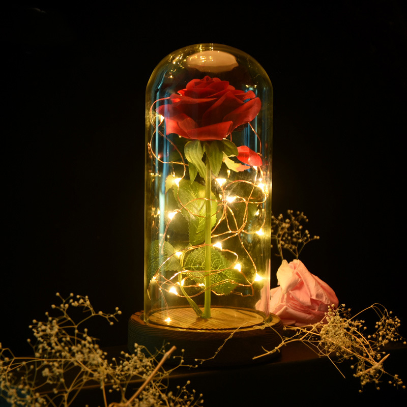 Led Table Night lamp Artificial Rose Beauty And Beast Flower In Glass Dome Christmas Home Decor For Valentines Day New Year Gift