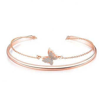 INS Free Shipping Plating Rose Gold Jewelry Open Size Women Bangle Butterfly Bracelet