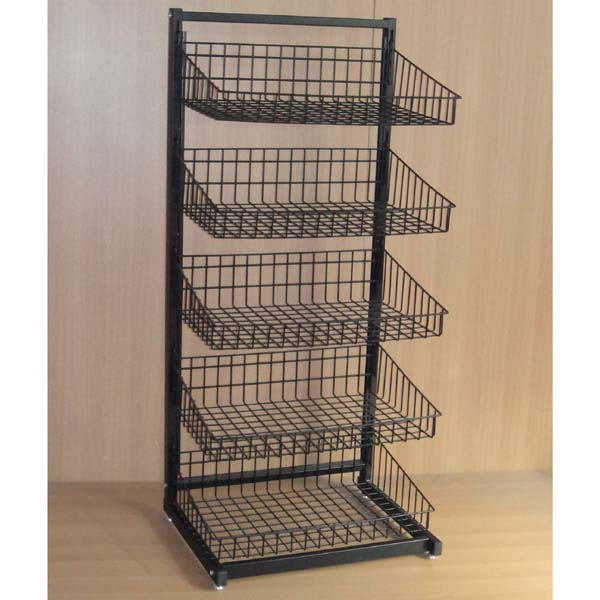heavy duty strong capacity floor standing steek wire basket holder  multi tiers adjustable display rack