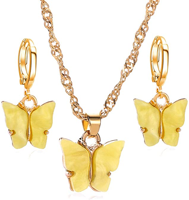 Bohemian Summer Gold Resin Butterfly Charm <strong>Pendant</strong> Necklace Earrings Jewelry sets